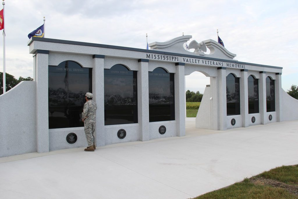 Mississippi Valley Veterans Memorial with solider viewing